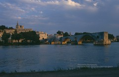 Avignon, evening light (blauepics) Tags: city bridge france water architecture clouds buildings river landscape frankreich wasser wolken rhne stadt architektur brcke fluss avignon landschaft gebude