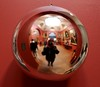 Photographer with Reflecting Sphere (richardr) Tags: uk greatbritain red england selfportrait reflection london english ball reflections europe gallery european unitedkingdom britain sphere british southlondon europeanunion dulwich escheresque dulwichpicturegallery