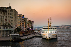 Dusk in Karaky (Abdallah A. Mansour) Tags: sunset ferry turkey geotagged boats ship ships places istanbul ports bosphorus goldenhour tr goldenhorn