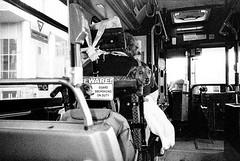 Beware (christait) Tags: street canada bus calgary beware wheelchair grain dachshund alberta transit yyc ilforddelta3200 yycstreet guarddachshundonduty
