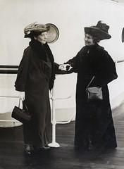 Christabel and Emmeline Pankhurst on board ship, c.1913-1914.