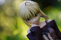 Saber smiling (gwennan) Tags: summer anime color cute green colors japan closeup toy figure saber figures pvc jfigure fatehollowataraxia goodsmilecompany holidayver