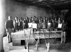 4-H Club gathered around farming implements - Monticello (State Library and Archives of Florida) Tags: florida monticello farmequipment groupportraits africanamericanchildren 4hclubs