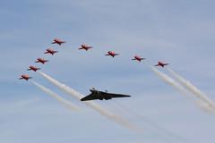 Avro Vulcan #XH558 & The #RedArrows (jvreymondon) Tags: uk aircraft aviation royal airshow vulcan airforce redarrows raf avro fairford riat airtattoo avgeeks xh558 twittervforce riat15