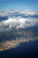 Monaco (luz.marsen) Tags: above city blue houses sea sky sun france mountains alps water clouds plane buildings coast rocks riviera flight monaco mediterranian