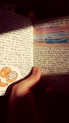 Drawings in the light (Pain Chaud) Tags: light sun canada moleskine writing handwriting book sketch hand drawing diary journal sketching crayon clementine acadia journaling