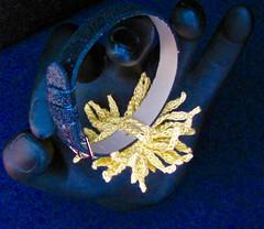 Chrysanthemum Bracelet, underside (vashtirama) Tags: beaded seedbeads wristcorsage crochetflower crochetjewelry crochetbracelet crochetchrysanthemum homecomingmumcorsage 20crochetthread