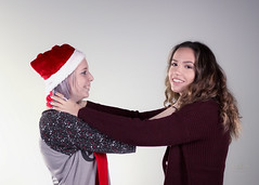 I've Got a Strangle Hold on You! (SteveFrazierPhotography.com) Tags: girls portrait beautiful pose fun illinois volunteers group models teenagers teens posing il event playful choke teenage macomb 2015 santaself youngladies thecrossings december5 canoneos60d helpportrait stevefrazierphotography