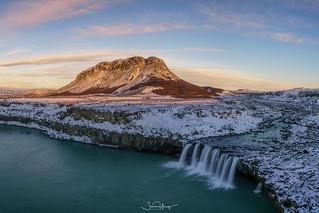 Búrfell and Þjófafoss Sunset