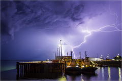 Darwin Harbour lightning (beninfreo) Tags: darwin nt northernterritory lightning storm stormchaser stormcell thunder weather electricity bolt cg cloud cloudtoground canon 5d3 1740mm tug boat harbour