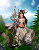 Forest guardian (meriluu17) Tags: noblecreations nc warrior guardian forest fantasy elf fae snake staff mask horn horns wild nature outdoor people green rock rocks moutain pople magic magical surreal