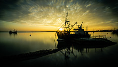 Sunset view from The Old Leigh waterfront (SnapperJude) Tags: leigh0nsea leigh southend fishing fishingboats fishingindustry sunset settingsun goldenhour sea clouds reflections landscape seascape redsky