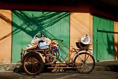 Trishaw (explore 29/12/16 #97) (Sarah Marston) Tags: trishaw bangrak bangkok thailand orange green shadows road sony alpha a65 december 2016