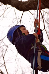 Boy in blue jacket close up (Montgomery Parks, MNCPPC) Tags: treeclimbing woodsidepark january2017 2017