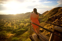 Rising with the Sun (cookedphotos) Tags: canon 5dmarkii travel hawaii oahu honolulu diamondhead diamondheadcrater hike hiking crater morning sunrise dawn woman girl brunette catwalk view