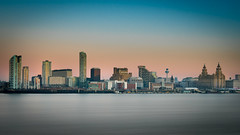 Liverpool Blue Hour (Isheywoo!) Tags: liverpool lfc efc skyline water iver mersey buildings waterfront cold night liver sky scrapers ferry