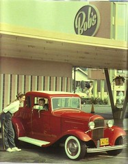 I love this photo. (blue65pv544) Tags: 1932 ford 5w five window coupe deuce hot rod red american graffiti nostalgia retro vintage carhop bobs big boy drivein