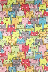 Christmas Cats (1) (lostinmaroc) Tags: print cartoon colorful postcard drawing cat cats snow winter christmas holiday