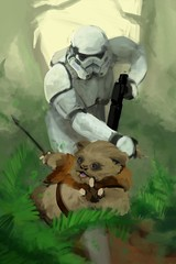 Aggressive Negotiations (justin pyne) Tags: justin pyne aggressive negotiations star wars ewok stormtrooper endor return jedi bootleg wookiee kashyyyk painting digital illustration character design artwork photoshop cintiq 13hd blaster pull hair furry murder fursona