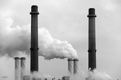 Industrial symmetry (amanda.fotogaaf) Tags: blackandwhite black white sky chimney smoke industry factory monochrome mirror repeating double symmetry