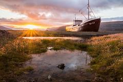 Anchoring Forever (Explore #28) (Fabian F_) Tags: iceland island sunset landscape photography canon 700d westfjords patreksfjörður ship boat wreck wrack schiff sonnenuntergang sunrays sonnenstrahlen vacation urlaub