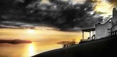 Sunset in Santorini (D'ArcyG) Tags: greece santorini island greek greekisles sunset sun clouds blackandwhite bw duotone monotone reflection rural europe