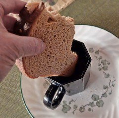 Dunking In My Tea (✪☺✿One Week Left!✿☺✪) Tags: odc dunk sandwich tea cup black hand mine plate table white leaves green