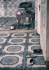 Shoes at the Door (Poondash) Tags: africa door blue house home kitchen canon table eos pattern dof basket indoor falls doorway morocco berber step tiles marrakech kit pan depth ouzoud eosm neildavies neildaviesmckay ndavmc