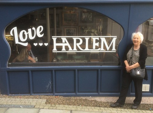 Mum posing outside Love Harlem