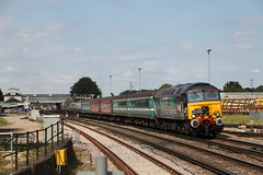 DRS 57307 with 5Z39 at Eastleigh 22/8/15 (Ewan's rail pics) Tags: railtour eastleigh ladypenelope drs class57 37405 37401 57307 5z39 thebournemouthflyer 1444eastleigharlingtontobournemouth