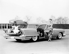 1958 Oldsmobile Carousel Damsel of Design Peggy Sauer poses with her 1958 Oldsmobile Carousel wagon (biglinc71) Tags: wagon design with carousel her 1958 peggy poses oldsmobile damsel sauer