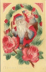 Antique Christmas Postcard - Santa with American Flag (Brynn Thorssen) Tags: santa christmas xmas red holiday snow green vintage gold antique holly postcards yule fatherchristmas santaclaus merrychristmas santaklaus happynewyear happychristmas yuletide oldsaintnick