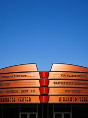 Kirkland Performance Center (Chicken®) Tags: blue red sky orange usa architecture modern us washington unitedstates theatre minimal copper kirkland bold kpc performancecenter