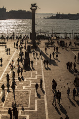 Aerial view of San Marco Piazza (Saint Marc Square): Shadow of tourist on the square (CloudMineAmsterdam) Tags: old city travel carnival venice sunset shadow summer people love tourism monument water statue sunrise buildings town weekend famous silhouettes landmark valentine medieval tourists canals unesco lamppost destination romantic historical venetian ducal venise venezia sanmarco touristic wingedlion europeitaly citybreak touristicattraction