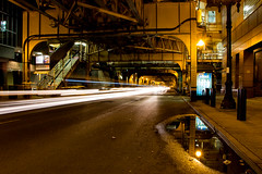 Drive on by (aerojad) Tags: longexposure chicago night train cta traffic thel