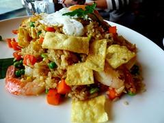 Malaysian nasi goreng (Sandy Austin) Tags: newzealand food rice prawns auckland northshore northisland spicy friedegg malaysian takapuna nasigoreng sandyaustin panasoniclumixdmcfz70