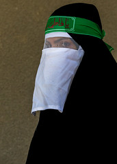 iranian shiite muslim woman mourning imam hussein on the day of tasua with her face covered by a veil, Lorestan Province, Khorramabad, Iran (Eric Lafforgue) Tags: portrait people woman green face vertical proud female religious outdoors persian clothing women veil mourning adult iran muslim islam traditional text religion middleeast pride headshot celebration hidden covered mysterious shia ritual muharram ashura script tradition bandana niqab hussein oneperson burqa iman shiite ashoura hussain mourner youngadultwoman persiangulfstates onewomanonly lookingatcamera   15383 tasua husayn colourimage 1people  iro shiism arabicalphabet khorramabad  tasoua westernasia  lorestanprovince chehelmenbari