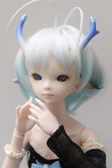 DZ Moon on Withdoll body (Damasquerade) Tags: pink moon girl star skin body ns alien match bjd normal resin hybrid comparison 41cm dollzone withdoll