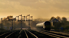Powering Past The Semaphores. (Neil Harvey 156) Tags: railway tug glint signalbox colas northlincolnshire class60 barnetby semaphoresignal 60026 bitumentanks colasrail signalgantry wrawbyjunction 6e32 prestondockstanks prestontanks