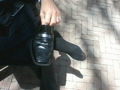 Kenneth Coles 5 (mansoles) Tags: public businessman toes professional friendly bigfeet kennethcole shoeoff dressshoe sockedfooted
