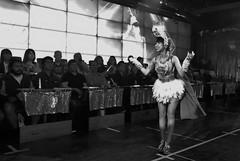Robot Restaurant (burnt dirt) Tags: kabukicho shinjuku tokyo japan asian japanese girl woman crowd performer performance dancer lighting costume cosplay robot robotrestaurant restaurant bw s smile cute cape gloves hat building people person group