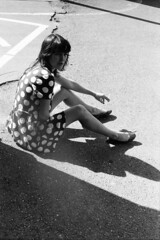 en attendant le train (asketoner) Tags: portrait shadow sun nancy france daylight girl smoking polka dress floor ground lines warmth summer