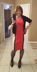 New color block CK dress I got with Macy's thanks for sharing credit. (krislagreen) Tags: tg transgendar transgender cd crossdresser dress hose highheels patent femme feminzation feminized sissy