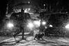 Walking a dog. (Originalni Digitalni) Tags: 70300 slavonskibrod cold snijeg snow snowing blackandwhite monochrome cars dog umbrella