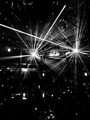 Lights, Camera, Action (LeRouxster) Tags: madamezingaras blackwhite blackandwhite shotoniphone iphoneography mobilephotography strobe stage show lights