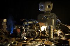 Scraps (Koeau) Tags: robot science fiction wasteland scrap metal drew barrow carretto ricambi wire fili copper rame smoke fumo dust polvere dump discarica grid steel acciaio lego minifigure minifig plastic