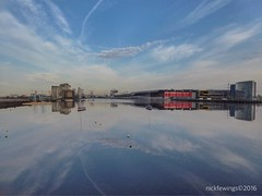 Reflections of Docklands (Nick Fewings 4.5 Million Views) Tags: spring may symmetrical symmetry nickfewings excel canarywharf clouds blue sky 2016 buildings landscape uk docklands london water reflections reflection