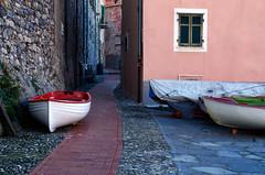 Sotto casa del pescatore (encantadissima) Tags: tellaro liguria barche viuzza streetphotography