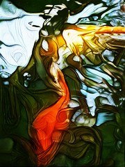 Swirling Waters and Refracted Fish (Steve Taylor (Photography)) Tags: fish art digital abstract impressionist white yellow orange green black water strange crazy weird goldfish refracted