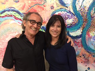 Artists Cerj Lalonde and Mary Ellen Scherl in their Bakehouse Studio for the 30th anniversary party